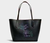 Market Tote Tasche aus schwarzem Leder