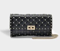 Rockstud Spike Schulter Clutch Tasche aus schwarzem Nappaleder
