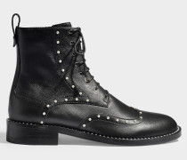 Hanah flat leather and pearl combat boots