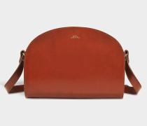 Tasche Demi-Lune aus braunem Kalbsleder