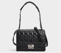 K/Kuilted Handtasche aus schwarzem Kalbsleder