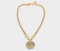 Halskette mit Medusaanhänger aus weißem und goldenem Metall