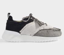 Sneakers Fringed aus schwarzem und grauem Veloursleder