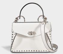 Small Hava Top Handle Tasche aus Optic weißem Studded Leder