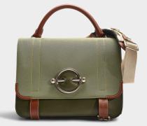 Handtasche Disc Satchel aus khakigrünem Stoff