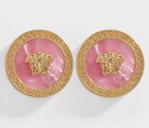 Ohrringe Medusa aus rosa und goldenem Metall