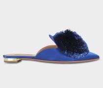 Powder Nuancen Puff Flat Schuhe aus Ble blauem Bell Satin