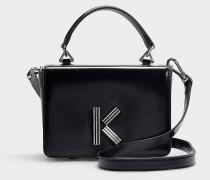 Handtasche mit Schulterriemen Klasp aus schwarzem Kalbsleder
