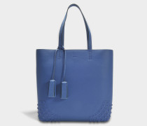 Wave Tote Bag aus Jeans blauem Miami Kaschmir und Kalbsleder