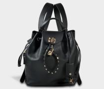 Twiny Backpack aus schwarzem Leder