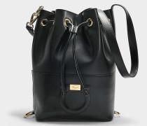 Handtasche mit Schnürbändern Coulissant Gancio City aus schwarzem Kalbsleder