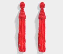 Long Beaded Tassel Clip Ohrringe aus Ruby Synthetik