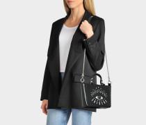 Icon Top Handle Tasche aus schwarzem Kalbsleder