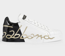 Portofino Sneakers with Logo across Rear in Black, White and Gold Calfskin