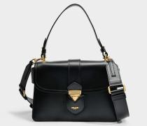 Hidden Lock Shoulder Bag aus schwarzem Kalbsleder