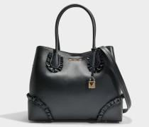 Mercer Gallery Center Zip Medium Tote Tasche mit Ruffles aus schwarzem Polished Leder