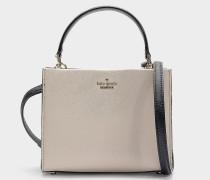 Kleine Handtasche Sara Cameron Street aus Kalbsleder Saffiano in Beige und Schwarz