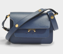 Mini Trunk Tasche aus Orion blauem Saffiano Leder