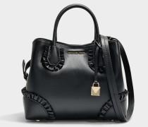 Mercer Gallery small Center Zip Satchel Tasche aus schwarzem Polished Leder