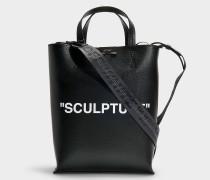 Shopper New 'Sculpture' Medium aus schwarzem und weißem Kalbsleder