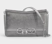 Tasche Sidney Choo Logo aus anthrazitfarbenem Metallic Nappamit Logo