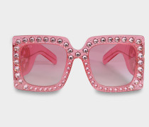 Squarotem Oversize Sonnenbrille aus glänzend transparentem rosanem Acetat