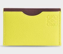 Simple Card Holder aus zitronengelbem und Burgundy Soft Kalbsleder
