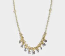 Valentino Crystals Lettering Choker Halskette aus Metall und Zaffiro Swarowskisteinen