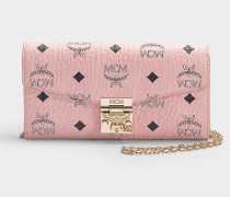 Patricia Visetos Flap Wallet /Two-Fold Large in Soft Pink Coated Canvas