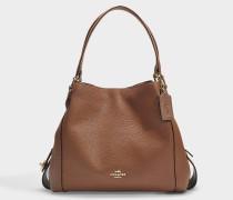 Polished Pebble Leather Edie 31 Shoulder Bag in Brown Calfskin