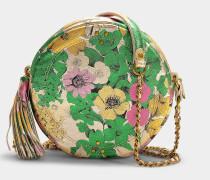 Handtasche mit Schulterriemen Rémi aus Lammleder und aus Ziegenleder und Lamé in der Farbe Tahiti