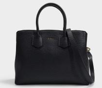 Shopper Alba M aus schwarzem Leder