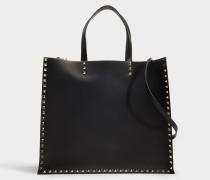 Shopper Rockstud VLTN aus schwarzem Kalbsleder