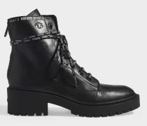 Pike Lace Up Stiefel aus schwarzem, Augenmotif-geprägtem Leder