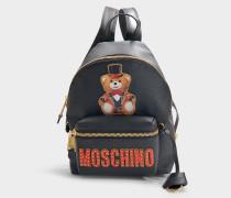 Mini Rucksack Teddy Circus aus schwarzem Kalbsleder