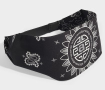 Bandana Hat with Snapback Closure in Black Cotton