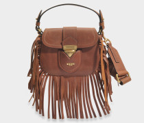 Hidden Lock Small Bag mit Fransen aus camelfarbenem Wildleder