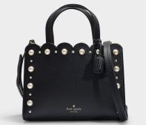 Shopper Sam Hayes Street Pearl aus schwarzem, genarbtem Leder