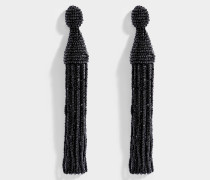 Long Beaded Tassel Clip Ohrringe aus Jet Synthetik