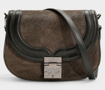 Kleine Handtasche Trisha Suede aus grauem Kalbsleder