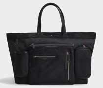 Großer schwarze Nylon-Einkaufstasche mit vielen Taschen
