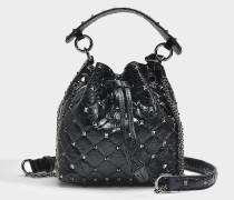 Kleine Bucket Bag Rockstud Spike aus schwarzem Lammleder