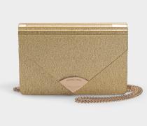 Envelope Clutch Barbara Medium aus goldenem PVC
