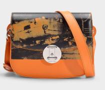 Kleine Schultertasche Round Lock Andy Warhol aus orangem Kalbsleder