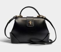 Handtasche Frame aus Samt und pflanzlich gegerbtem Kalbsleder in Schwarz