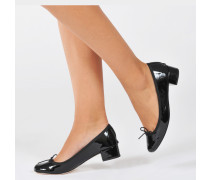 Camille Patent Mid-Height Ballerinas aus schwarzem Leder