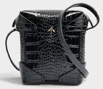 Micro Pristine Tasche mit Croc Print Leder Strap aus schwarzem Croc Print Patent Kalbsleder