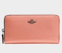 Accordion Zip Geldbörse aus orangefarbenem Kalbsleder