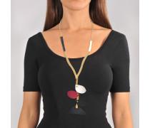 Halskette mit Petal Leder Pieces aus schwarzem Kalbsleder