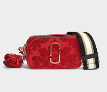 Damask Snapshot Kamera Tasche aus rotem Split Kuhleder